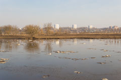 Spring ice drift. Sunny morning, Belarus, Mogilev, Dnepr Royalty Free Stock Photo