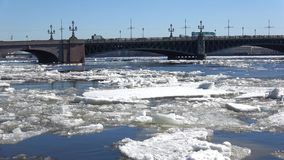 Spring ice drift at Trinity bridge. Saint-Petersburg. Spring ice drift at Trinity bridge. Saint Petersburg stock footage