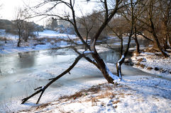 Spring ice drifting on the river_10 Royalty Free Stock Photo