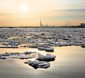 Spring ice floes on the River Neva in Saint Petersburg. Royalty Free Stock Photography