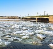 Spring ice floes on the River Neva in St Petersburg Stock Photos