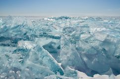 Spring ice of lake Baikal Stock Image