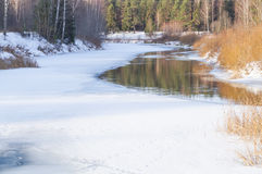 Spring, ice melts on the river Royalty Free Stock Image