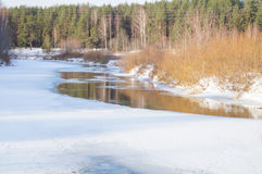 Spring, ice melts on the river Stock Photography