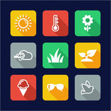 Spring Icons Flat Design Royalty Free Stock Images