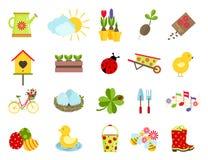 Spring icons. flat style set Stock Photography