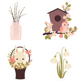 Spring icons. Flowers and animals. Four vector illustrations. Ep Royalty Free Stock Photo