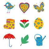 Spring icons set Royalty Free Stock Image