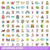 100 spring icons set, cartoon style. 100 spring icons set. Cartoon illustration of 100 spring vector icons isolated on white background royalty free illustration