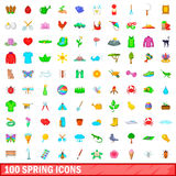 100 spring icons set, cartoon style. 100 spring icons set in cartoon style for any design vector illustration Stock Photo