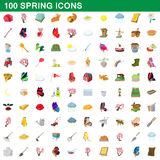100 spring icons set, cartoon style. 100 spring icons set in cartoon style for any design vector illustration Stock Illustration