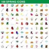 100 spring icons set, cartoon style. 100 spring icons set in cartoon style for any design illustration stock illustration