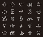 Spring icons. Set of spring icons drawn in white on black background Stock Images