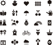 Spring icons. A set of flat black icons related to spring Stock Photography
