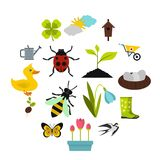 Spring icons set, flat style. Spring icons set. Flat illustration of 16 spring vector icons for web Stock Photo