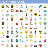 100 spring icons set, flat style. 100 spring icons set in flat style for any design vector illustration Stock Images
