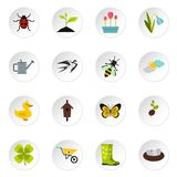 Spring icons set, flat style. Spring icons set. Flat illustration of 16 spring vector icons set illustration Royalty Free Stock Photos