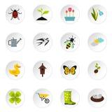Spring icons set, flat style Royalty Free Stock Photos