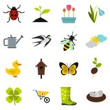Spring icons set, flat style. Spring icons set. Flat illustration of 16 spring vector icons for web Royalty Free Stock Images