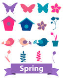 Spring icons. Set with flowers, butterflies and birds. Vector illustration Royalty Free Stock Images