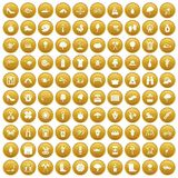 100 spring icons set gold. 100 spring icons set in gold circle isolated on white vector illustration vector illustration