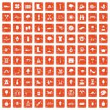 100 spring icons set grunge orange. 100 spring icons set in grunge style orange color isolated on white background vector illustration Royalty Free Stock Image