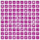 100 spring icons set grunge pink. 100 spring icons set in grunge style pink color isolated on white background vector illustration Royalty Free Stock Photos