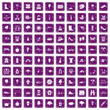 100 spring icons set grunge purple. 100 spring icons set in grunge style purple color isolated on white background vector illustration Royalty Free Stock Image
