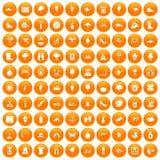 100 spring icons set orange. 100 spring icons set in orange circle isolated on white vector illustration Royalty Free Stock Photos