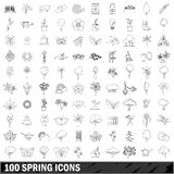 100 spring icons set, outline style Stock Photos