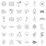 Spring icons set, outline style. Spring icons set. Outline style of 36 spring vector icons for web isolated on white background Stock Photography
