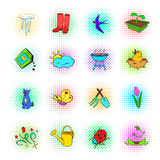 Spring icons set, pop-art style Royalty Free Stock Image