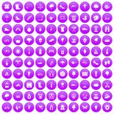 100 spring icons set purple. 100 spring icons set in purple circle isolated on white vector illustration Royalty Free Stock Photos