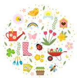 Spring icons set in round shape, flat style. Gardening cute collection of design elements, isolated on white background stock illustration
