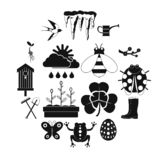 Spring icons set, simple style stock illustration