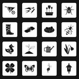 Spring icons set squares vector Stock Images