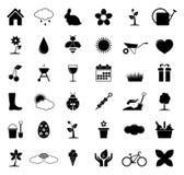Spring icons. On white background. Vector illustration Stock Photo