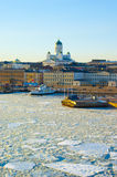 Spring icy sunset landscape of Helsinki Stock Photos