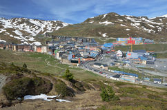 Spring iew of the town Pas de la Casa from the slopes Stock Image
