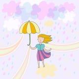 Spring illustration. Pastel colored cute spring illustration Stock Photo