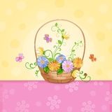 Spring illustration with beautiful flowers. Royalty Free Stock Images