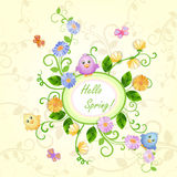 Spring illustration with beautiful flowers. Royalty Free Stock Photography