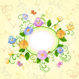 Spring illustration with beautiful flowers. Stock Photos