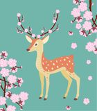 Spring illustration with a deer and cherry blossom. Spring illustration with a deer and cherry blossom stock illustration