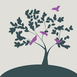 Spring illustration with doves on tree. Silhouette stock illustration