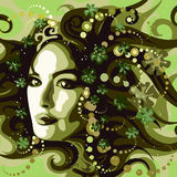The Spring. Illustration with woman face against floral abstract background as allegory of early spring nature Royalty Free Stock Images