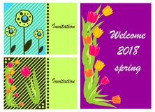 3 Spring of 2018 Invitation Cards Royalty Free Stock Image