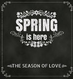 Spring Is Here Typography Background On Chalkboard Vector Format Royalty Free Stock Photo