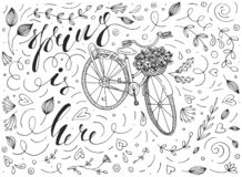 Free Spring Is Here Vector Illustration With A Vintage Bicycle, Basket Full Of Flowers, Calligraphy Lettering And Funky Doodles. Royalty Free Stock Photography - 139410717