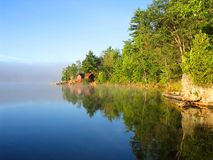 Spring on Jack Lake. An early morning view of one of my favorite lakes to fish Stock Photos